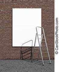 広告板, 通り, 段ばしご, 広告