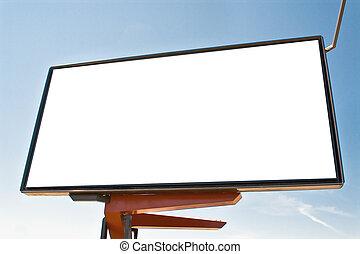 広告板, 青い空, に対して, ブランク