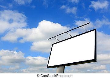 広告板, 青い空, ブランク