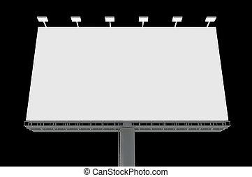 広告板, 黒, 隔離された, 背景, ブランク