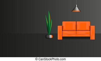 広告, イラスト, 暗い内部, 家具, salon., ポスター, オレンジの花, ラウンジ, シャンデリア, デザイン, ベクトル, 現実的, フラワーポット, ソファー