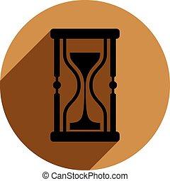 広告, イラスト, 砂ガラス, 砂時計, circle., アイコン, 時間, element., ブランド, 概念, 使用, 骨董品, 企業である, クラシック, 置かれた