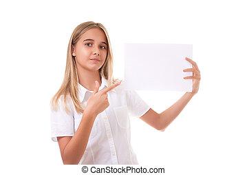 広告, ワイシャツ, 美しい, 板, 女の子, 隔離された, 十代, 白, 印, 指すこと