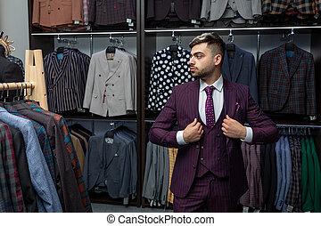 広告, 人, 人々, photo., ファッション, suit., -, 小売り, 完全, モデル, 衣類, ひげ, 最後, 真剣に, 概念, 情報通, store., ビジネス, セール, detail., スタイル