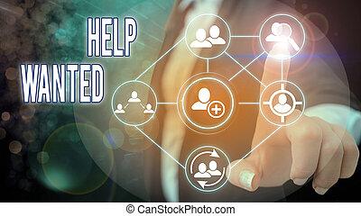 広告, 写真, 執筆, 手, employee., 新しい ビジネス, 雇用者, 場所, wanted., ファインド, テキスト, 概念, ペーパー, 提示, 助け