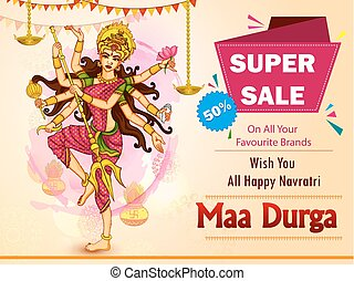 広告, 幸せ, セール, dussehra, 女神, 背景, durga, 昇進