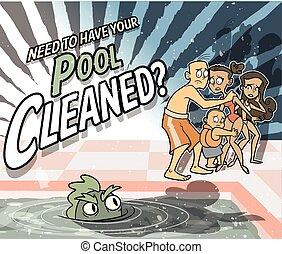 広告, 清掃, プール, 生きもの