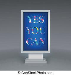 広告, 看板, はい, あなた, 缶