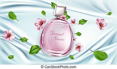 広告, 背景, 香水, sakura, びん, 花
