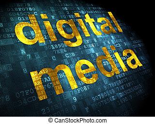 広告, concept:, デジタルの媒体, 上に, デジタルバックグラウンド