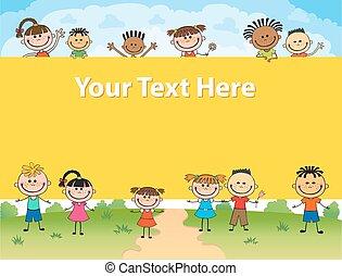 広場, のまわり, 子供, ポスター, イラスト, の後ろ, ベクトル, bunner, 旗