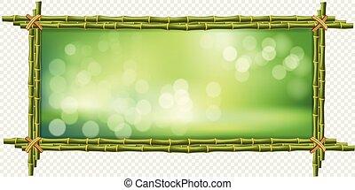 広場, はり付く, フレーム, ぼんやりさせられた, 緑の背景, 竹, ボーダー