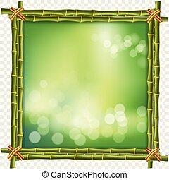 広場, はり付く, フレーム, 緑の背景, ぼやけ, 竹, ボーダー
