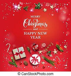 広場, クリスマス, 赤, テンプレート