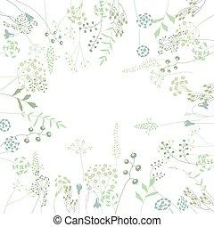 広場, シルエット, 抽象的, 定型, ハーブ, テンプレート, 花, plants.