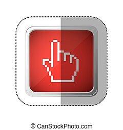 広場, シルエット, 指すこと, ステッカー, の上, 手, pixelated, ボタン, 赤