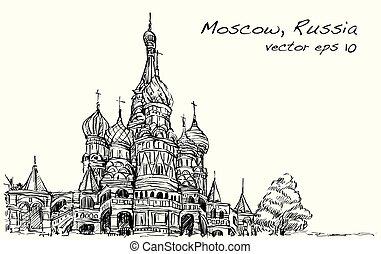 広場, スケッチ, 無料で, モスクワ, ベクトル, イラスト, ロシア, 手, 図画, 風景, 赤