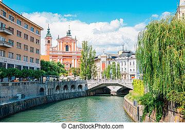 広場, スロベニア, 橋, franciscan, 古い, お告げの祝日, 3倍になりなさい, ljubljana, 町, preseren, 教会