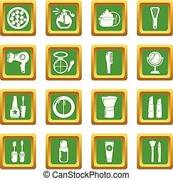 広場, セット, アイコン, ベクトル, 緑, 化粧品