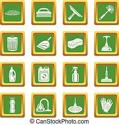 広場, セット, アイコン, ベクトル, 緑, 清掃