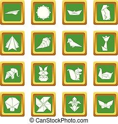 広場, セット, アイコン, ベクトル, 緑, origami