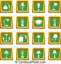 広場, セット, アイコン, ランプ, ベクトル, 緑