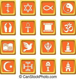 広場, セット, アイコン, 宗教, ベクトル, オレンジ