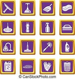 広場, セット, アイコン, 紫色, ベクトル, 清掃