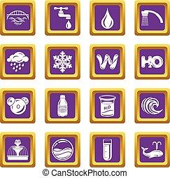 広場, セット, アイコン, 紫色, 水, ベクトル