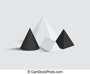 広場, セット, ピラミッド, プリズム, ベクトル, 数字, コーン