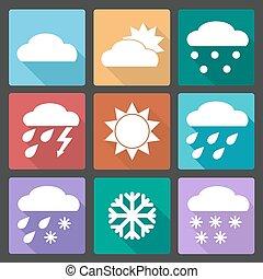 広場, セット, 有色人種, アイコン, 予報, 天候