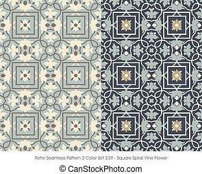 広場, パターン, つる, らせん状に動きなさい, seamless, 花, レトロ
