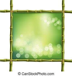 広場, フレーム, ぼやけ, 緑の背景, 茎, 竹, ボーダー