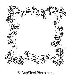 広場, フレーム, 装飾, クリーパー, すみれ, モノクローム, 花, 輪郭