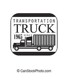 広場, フレーム, 重い, トラック, 会社, クラブ, ロゴ, 黒い、そして白い, デザイン, テンプレート
