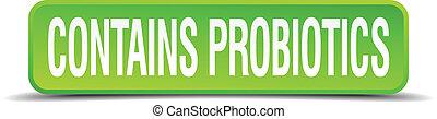 広場, ボタン, ∥含んでいる∥, 隔離された, 現実的, 緑, probiotics, 3d