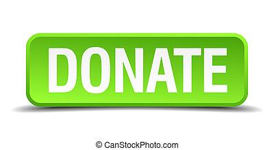 広場, ボタン, 隔離された, 現実的, 緑, 寄付しなさい, 3d