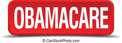 広場, ボタン, obamacare, 隔離された, 白い赤, 3d