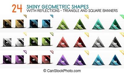 広場, 三角形, コレクション, 形, 旗, 幾何学的