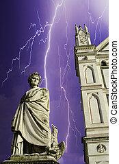 広場, 上に, croce, 嵐, 建築, santa, フィレンツェ