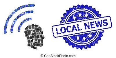 広場, 切手, 点, グランジ, ローカルニュース, テレパシー, 波, コラージュ