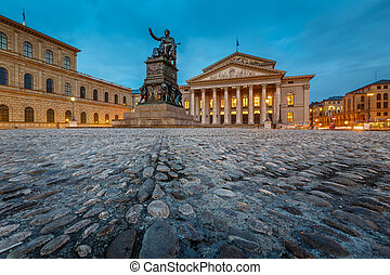 広場, 劇場, bavaria, 国民, 位置を定められた, ミュンヘン, ドイツ, max-joseph-platz