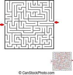 広場, 助け, 迷路, puzzle., 子供, バックグラウンド。, ゲーム, 黒, kids., 方法, 白, maze., ファインド, アウト。
