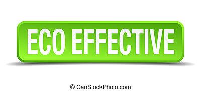 広場, 効果的である, eco, ボタン, 隔離された, 現実的, 緑, 3d