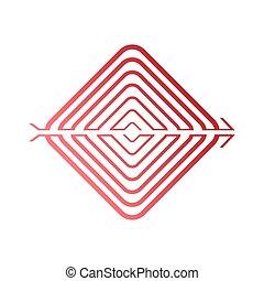 広場, 単純である, らせん状に動きなさい, arrow., ベクトル, 形態, イラスト