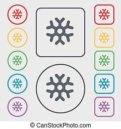 広場, 印。, frame., シンボル, ラウンド, ボタン, ベクトル, 雪片, アイコン