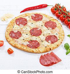 広場, 原料, 木製である, サラミ, 板, ピザ