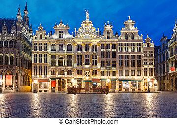 広場, 壮大な 場所, 夜, ベルギー, ブリュッセル