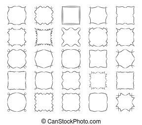広場, 抽象的, twisted, calligraphic, デザインを設定しなさい, フレーム, 要素