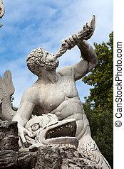 広場, 海王星, -, ローマ, 噴水, popolo